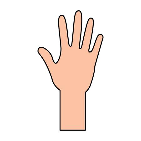 Ilustración de human hand arm open raised vector illustration - Imagen libre de derechos
