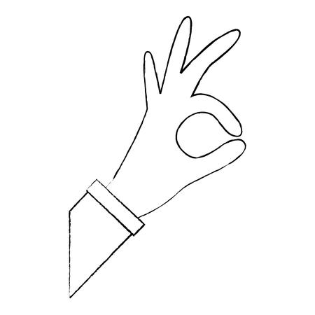 Illustration pour human hand showing okay gesture vector illustration - image libre de droit