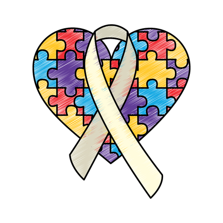 Illustrazione per puzzle heart ribbon autism awareness vector illustration drawing color design - Immagini Royalty Free