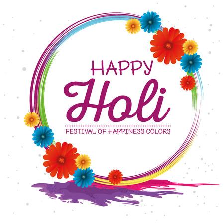 Ilustración de happy holi festival colors vector illustration design - Imagen libre de derechos
