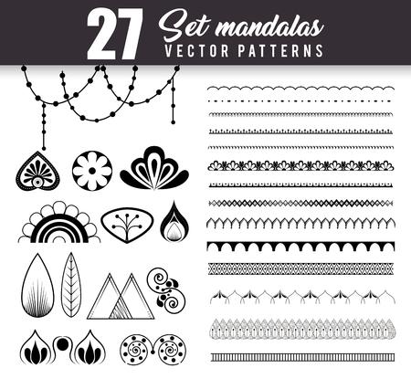 Ilustración de 27 mandalas monochrome boho style set vector illustration design. - Imagen libre de derechos