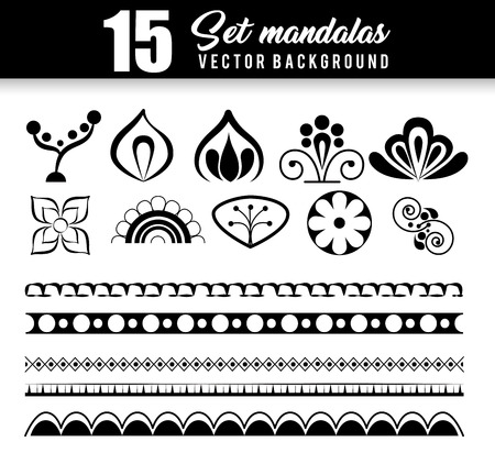 Ilustración de 15 mandalas monochrome boho style set vector illustration design. - Imagen libre de derechos