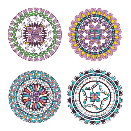 Illustration pour Mandalas colors boho style set vector illustration design. - image libre de droit