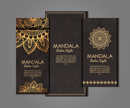 Illustration for Golden mandala boho style flyers vector illustration design - Royalty Free Image