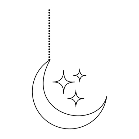 Ilustración de moon and stars hanging decoration vector illustration design - Imagen libre de derechos