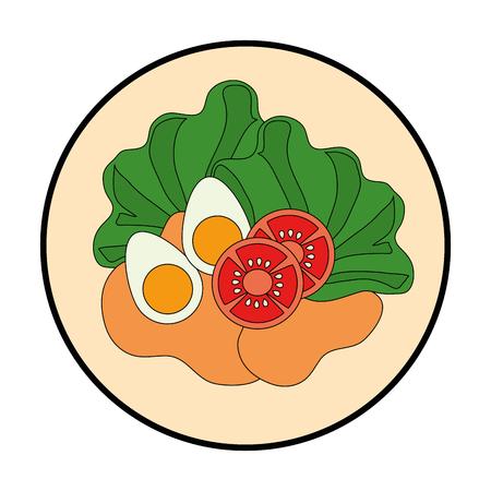 Ilustración de Delicious salad healthy food vector illustration design - Imagen libre de derechos