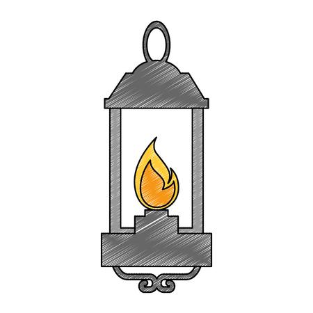 Ilustración de Isolated lantern lit illustration. - Imagen libre de derechos