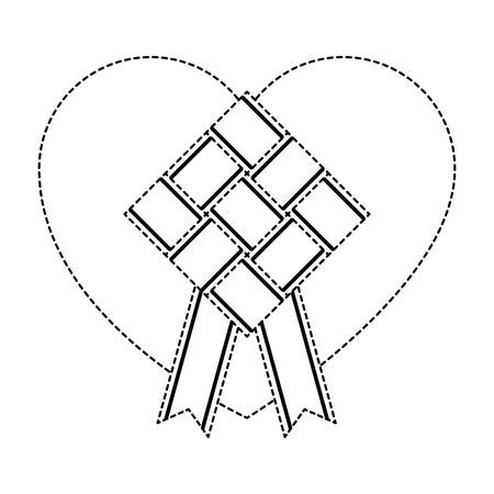 Illustration pour Uncolored rhombus frame with ribbon and heart illustration. - image libre de droit