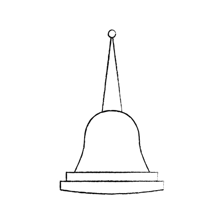 Illustration pour Pagoda Thailand temple shape bell culture vector illustration sketch design - image libre de droit