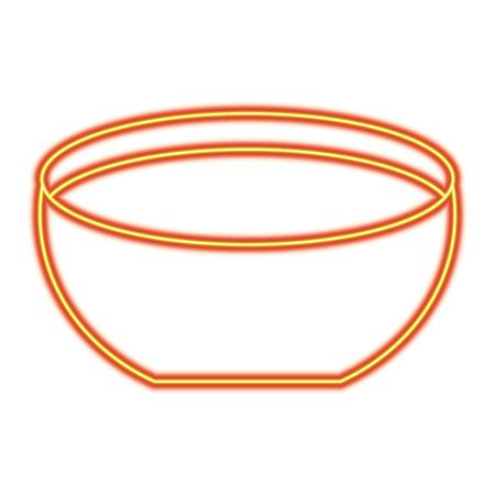 Ilustración de Bowl  icon vector illustration orange and yellow line image - Imagen libre de derechos