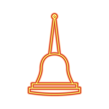 Illustration pour Pagoda Thailand temple shape bell culture vector illustration dotted line design - image libre de droit