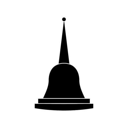 Illustration pour pagoda thailand temple shape bell culture vector illustration black and white image - image libre de droit