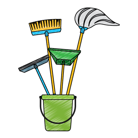 Illustration for Cleaning objects plastic bucket full of janitor cleaning helpful vector illustration - Royalty Free Image
