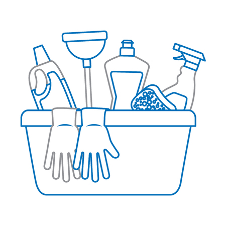 Illustration pour container with cleaning supplies vector illustration - image libre de droit