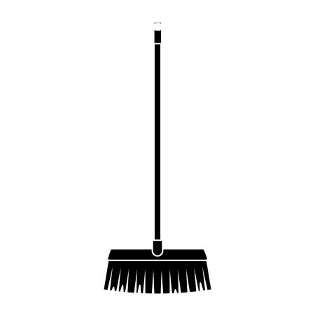 Illustration pour A black silhouette long wooden handle broom, tool for cleaning vector illustration - image libre de droit