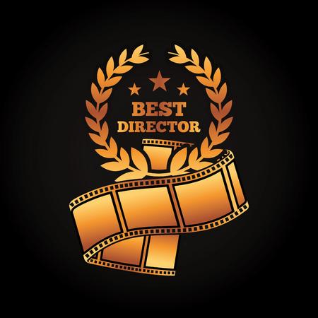Illustration for A gold award best director laurel strip film movie vector illustration black background - Royalty Free Image