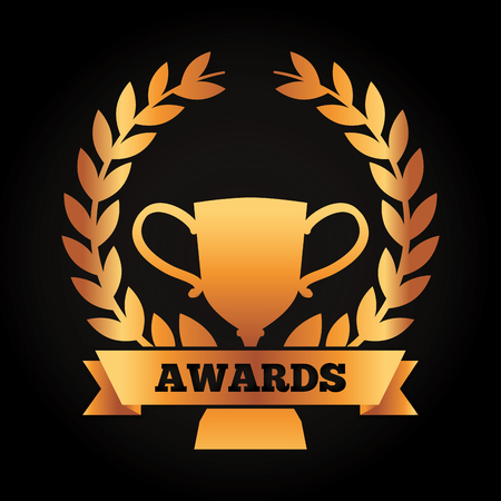 Ilustración de Award winning success gold cup laurel wreath and ribbon on a black background vector illustration - Imagen libre de derechos