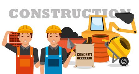 Illustration pour construction workers machinery wheelbarrow mixer concrete barrel vector illustration - image libre de droit