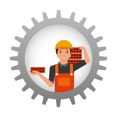 Illustration pour construction worker carrying bricks inside gear vector illustration - image libre de droit