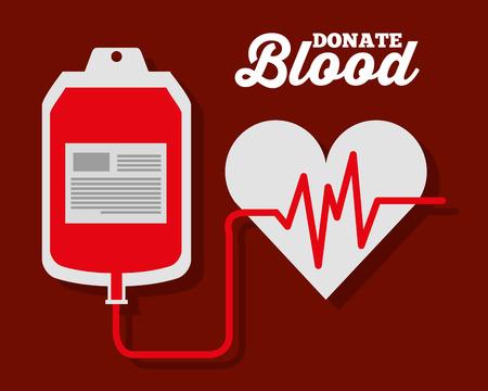 Illustration pour IV blood bag heart rate donate symbol vector illustration - image libre de droit