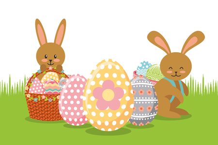 Illustrazione per Brown rabbits with baskets and eggs decoration on meadow vector illustration - Immagini Royalty Free