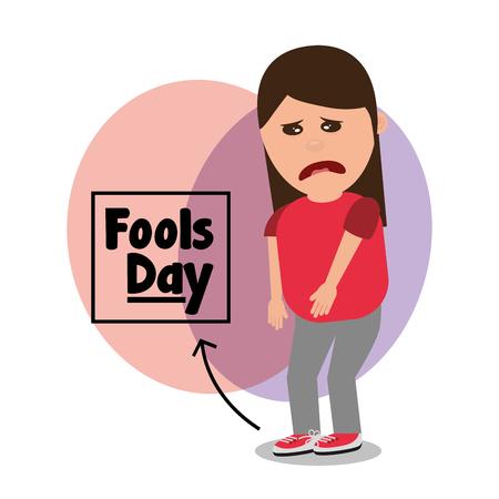 Ilustración de woman sad with tied shoelaces joke fools day vector illustration - Imagen libre de derechos