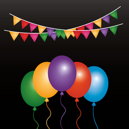 Illustration for Balloons and garlands decoration vector illustration - Royalty Free Image