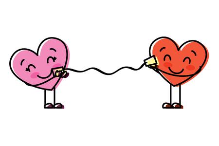 Illustration pour couple in love heart talking with cup romantic vector illustration - image libre de droit