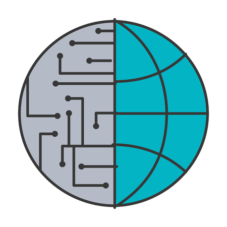Illustrazione per technology world globe network connection circuit vector illustration blue and gray - Immagini Royalty Free