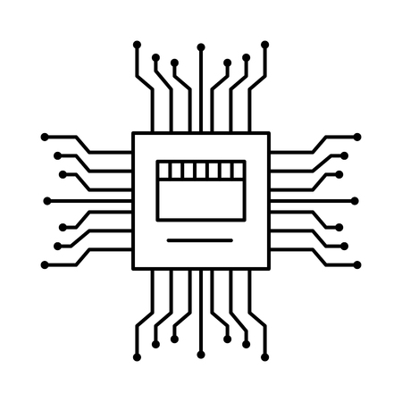 Illustration pour motherboard circuit high tech electric hardware icon vector illustration outline image - image libre de droit