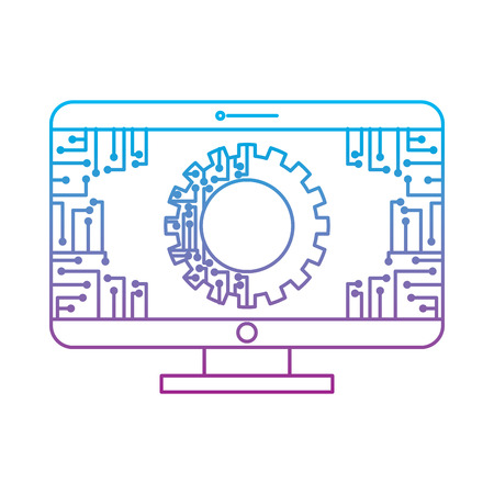 Illustration pour monitor computer with gear circuit connection technology vector illustration - image libre de droit