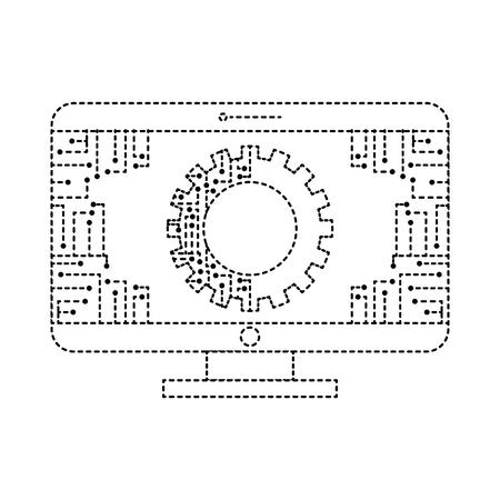 Illustration pour monitor computer with gear circuit connection technology vector illustration dotted line design - image libre de droit