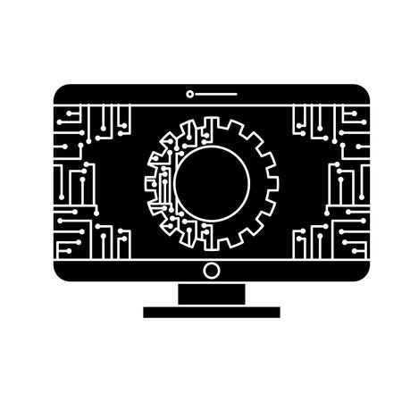 Illustration pour monitor computer with gear circuit connection technology vector illustration black and white design - image libre de droit