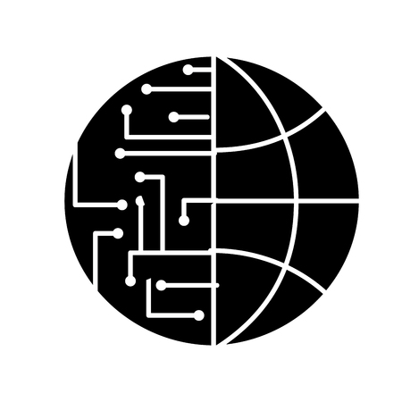 Illustrazione per technology world globe network connection circuit vector illustration black and white design - Immagini Royalty Free