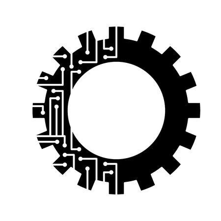 Illustration pour gear circuit technology work wheel vector illustration black and white design - image libre de droit