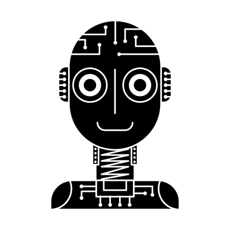 Illustration pour artificial intelligence robot machine technology futurist vector illustration black and white design - image libre de droit