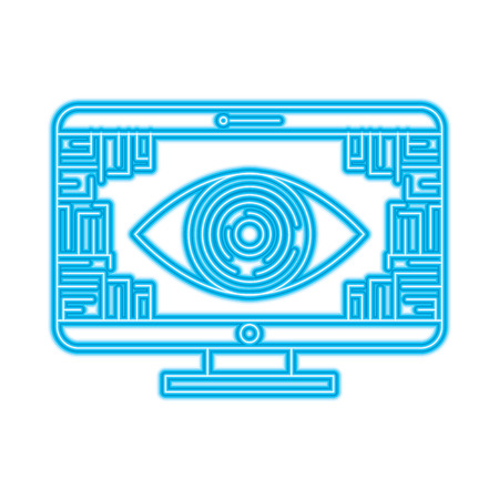 Illustration pour monitor computer eye security data circuit connection vector illustration - image libre de droit