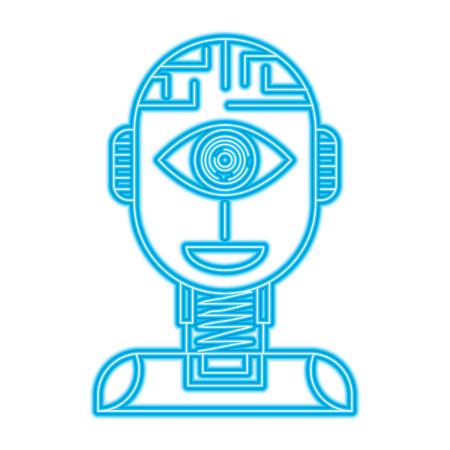 Illustration pour robot artificial intelligence security eye surveillance technology vector illustration - image libre de droit