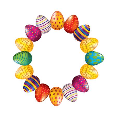Illustration for round frame decorative easter eggs ornament vector illustration - Royalty Free Image