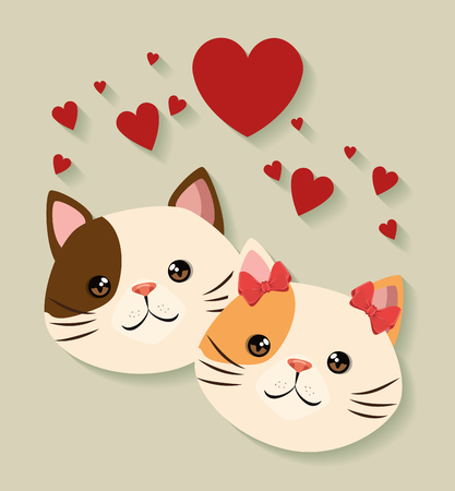 Illustration for cute cats couple pets friendly vector illustration design - Royalty Free Image