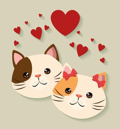 Illustration pour cute cats couple pets friendly vector illustration design - image libre de droit