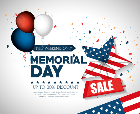 Illustration pour happy memorial day sale vector illustration design - image libre de droit