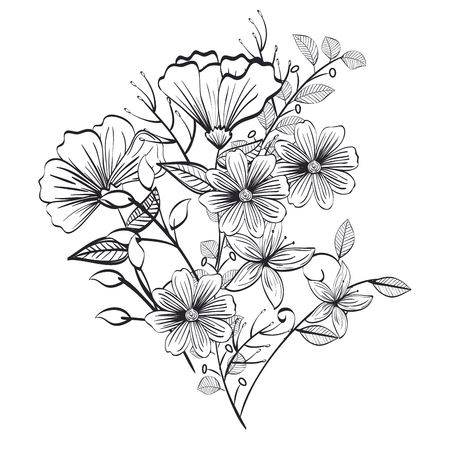 Illustration for monochrome and rustic decoration floral vector illustration design - Royalty Free Image