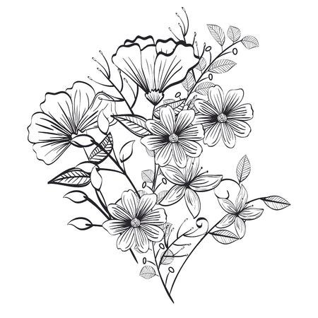 Photo pour monochrome and rustic decoration floral vector illustration design - image libre de droit