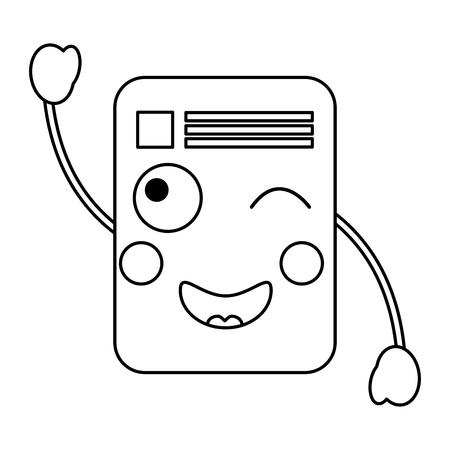 Photo pour paper document kawaii character note vector ilustration outline image - image libre de droit