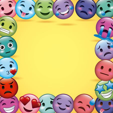 emoji smiles frame decoration differents yellow background vector illustration