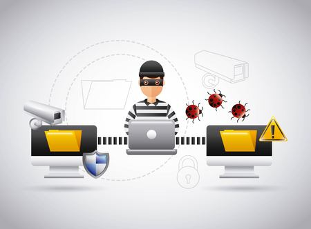 Ilustración de hacker theft file information laptop virus problem vector illustration - Imagen libre de derechos