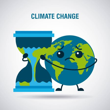 Illustration for climate change cartoon sad planet earth hourglass time vector illustration - Royalty Free Image