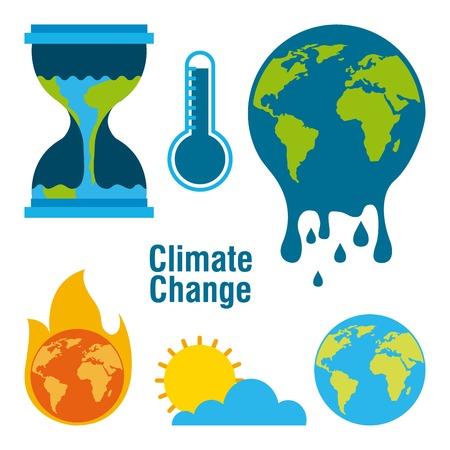 Ilustración de climate change temperature planet world fire melted time vector illustration - Imagen libre de derechos