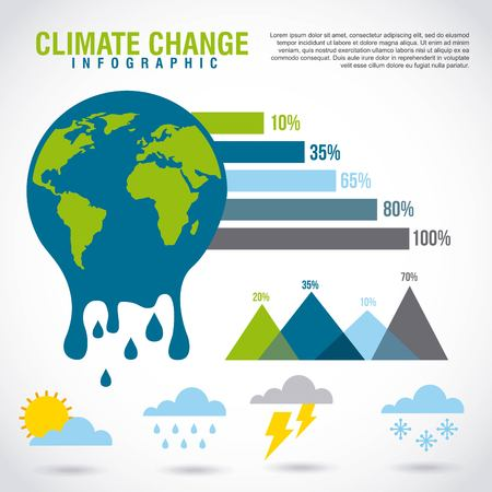 Illustration pour climate change infographic melted planet graphic chart vector illustration - image libre de droit